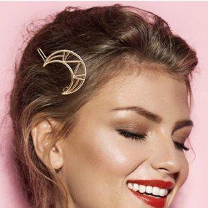 Brandy Melville Gold Metal Geometri Moon Hair Clip